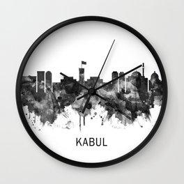 Kabul Afghanistan Skyline BW Wall Clock