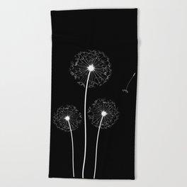 Dandelion Three White on Black Background Beach Towel