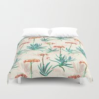 50s Duvet Covers featuring Flowering Succulent Pattern in Cream, Coral and Green by micklyn