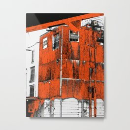 Jack Daniel's No. 7 whiskey distillery - modern photography art print- orange grain mill building Metal Print