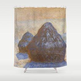 Haystacks, Snow Effect by Claude Monet Shower Curtain