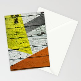 Old Wood Wall painted in Orange Yellow and Grey Stationery Cards