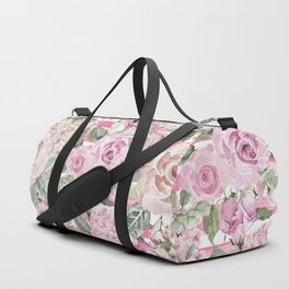 Country chic watercolor pastel green pink geometric floral Duffle Bag