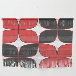 Mid-Century Modern Art - Flower Pattern Black Red Wall Hanging