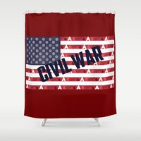 superheroes Shower Curtains featuring Superheroes Civil War by Kramcox