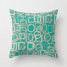 picture frames aplenty indigo jade Throw Pillow