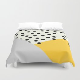 Mod Dots - yellow and Gray Duvet Cover
