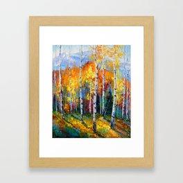 Autumn birches on the edge Framed Art Print