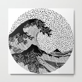 The wave of Kanagawa. Hokusai Metal Print