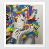 psychadelic Art Prints featuring Psychadelic Lady by K. Artistry Studio