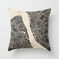 liverpool Throw Pillows featuring liverpool map ink lines by NJ-Illustrations