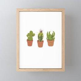 three cactuses in pots Framed Mini Art Print