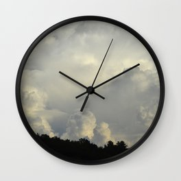 White Cloudscape Wall Clock