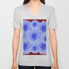 BLUE WHITE DAHLIA FLOWERS IN CHOCOLATE BROWN Unisex V-Neck
