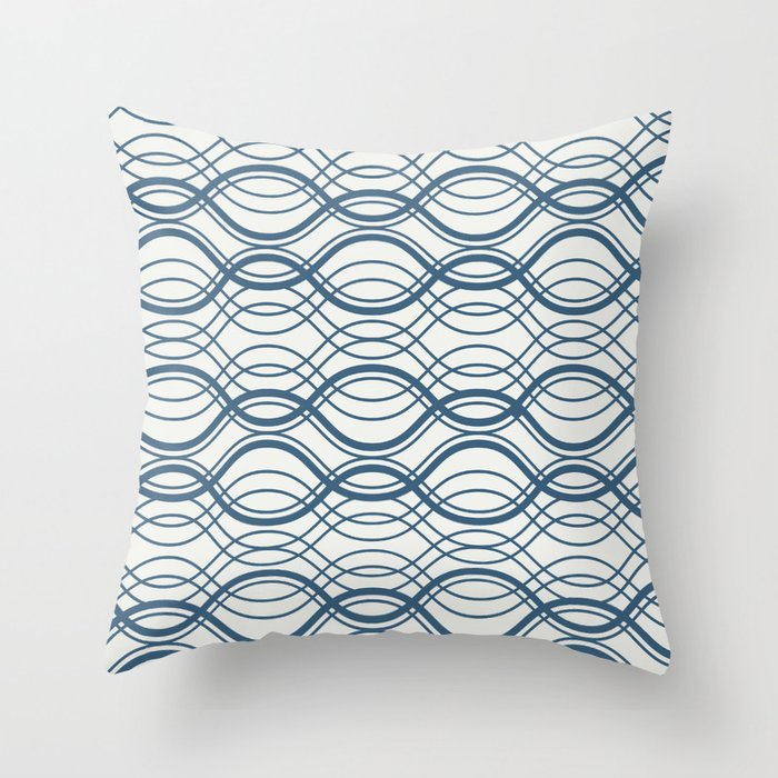 Blue Thin Overlapping Horizontal Lines Pattern on Off White Chinese Porcelain 2020 Color of the Year Throw Pillow