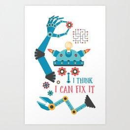 Help Desk Repair Man Robot Art Print