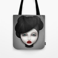 misfits Tote Bags featuring Misfit - McQueen by Raymond Sepulveda