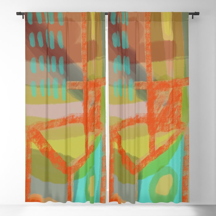 Shapes And Layer No 8 Abstract Painting Blackout Curtain By Sewzinski