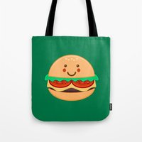 burger Tote Bags featuring Burger by AnishaCreations