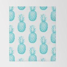 Teal Pineapple Throw Blanket