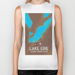 Lake Erie, USA lake Map Biker Tank