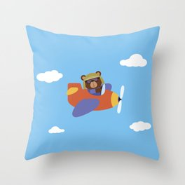 Bear in Airplane Throw Pillow