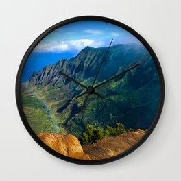Kalalau Valley Rainbow, Kauai, Hawaii, Scenic Landscape Wall Clock
