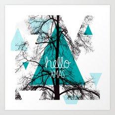 Hello christmas - winter tree geometric photography print Art Print