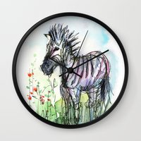zebra Wall Clocks featuring Zebra by Olechka