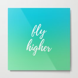 Fly Higher - Blue Green Ombre Metal Print