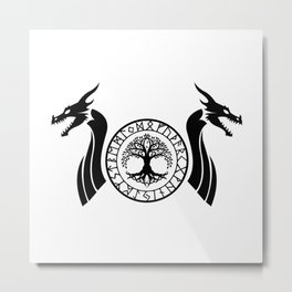 Norse Dragon - Yggdrasil Metal Print