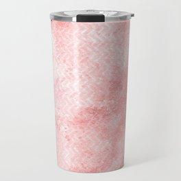 Rose quartz chevron pattern with grunge texture Travel Mug