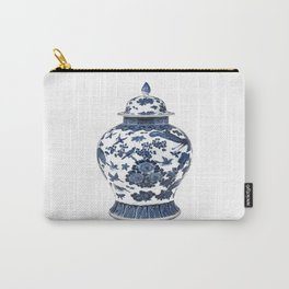 Blue & White Chinoiserie Porcelain Ginger Jar with Birds & Flowers Carry-All Pouch