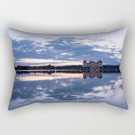 Fairy tale Castle - Fairytale Landscape Lake reflection blue hour on #Society6 Rectangular Pillow