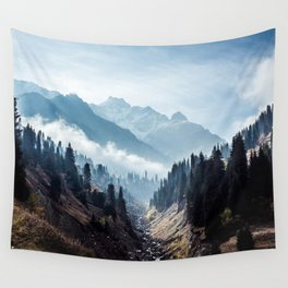 VALLEY - MOUNTAINS - TREES - RIVER - PHOTOGRAPHY - LANDSCAPE Wall Tapestry