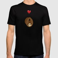 Sloth with Heart Balloon Black Mens Fitted Tee MEDIUM
