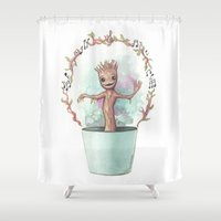 groot Shower Curtains featuring Baby Groot by Pendientera