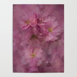 Pink flower painting - by Brian Vegas Poster