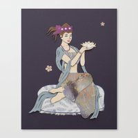 budi satria kwan Canvas Prints featuring Floating Kwan Yin by LaBoutiques
