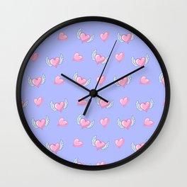 Romantic lavender blush pink love hearts valentine's Wall Clock