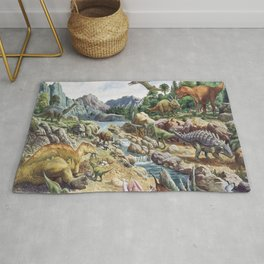 Jurassic dinosaurs in the river Rug