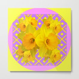 Yellow & Fuchsia Round Pattern Daffodils Metal Print