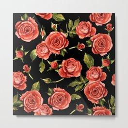 Vintage Red Roses On Black Metal Print