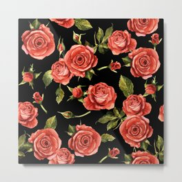 Vintage Red Roses On Black Metal Print