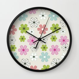 Graphic flowers: Oxonian flowers Wall Clock