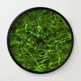Neon Green Underwater Wavy Rippling Water Wall Clock