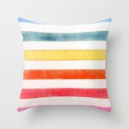 Rainbow stripes on canvas Throw Pillow