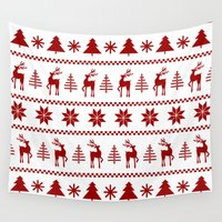 sweater Wall Tapestries featuring Christmas Sweater in Red by Paint Me Pink