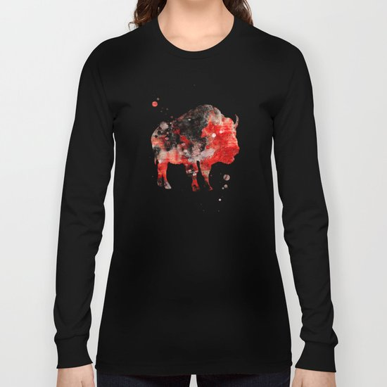 Watercolor Buffalo Bison Painting Black Red Grunge Long Sleeve T-shirt