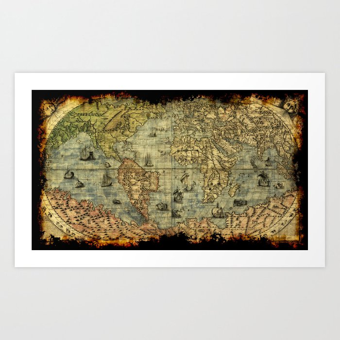 Vintage old world map art print by onlinegifts society6 vintage old world map art print gumiabroncs Image collections